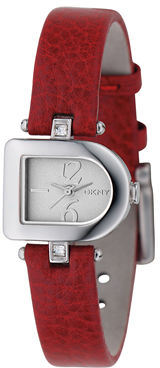 DKNY Watches NY4387 Womens Textured deep red leather strap