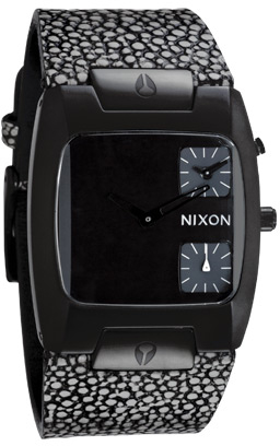 Nixon Watches The All Black Banks Leath Mens CUSTOM SOLID STAINLESS ST