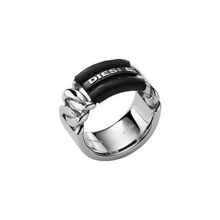 499cbfe7973 DIESEL POLISHED STAINLESS STEEL+LEATHER LOGO RING SIZE-8,9,10-