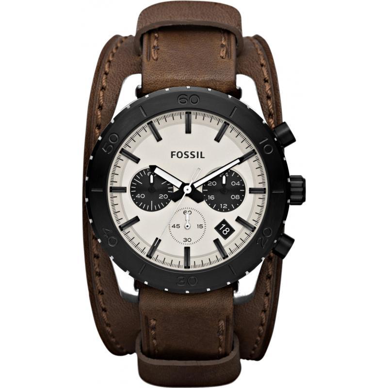 FOSSIL JR1395 - Мужские наручные часы с хронографом и окошком даты на стильном широком кожаном ремешке коричневого