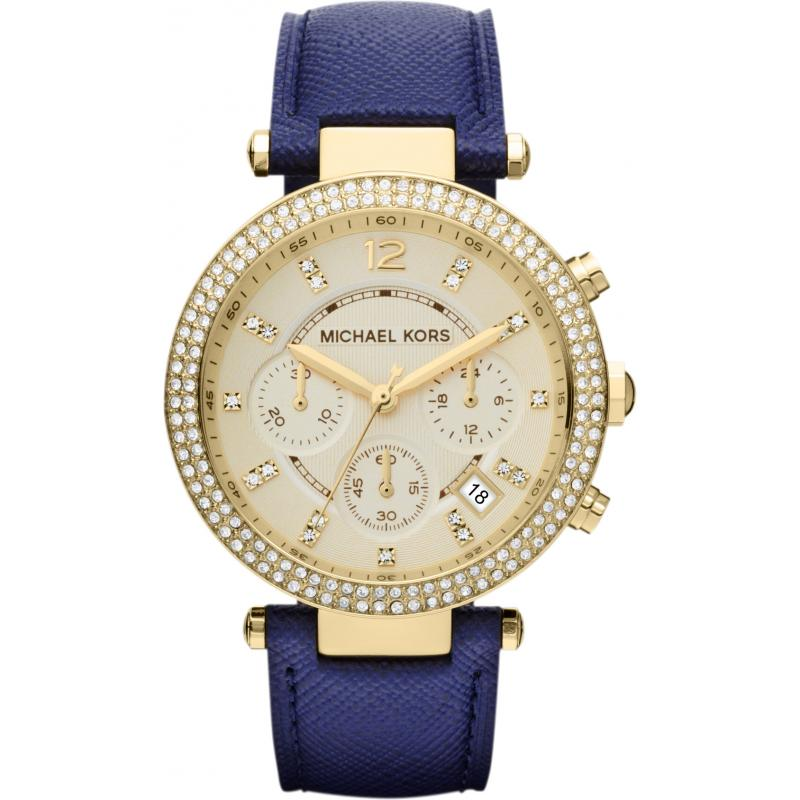 michael kors chronograph navy leather womens