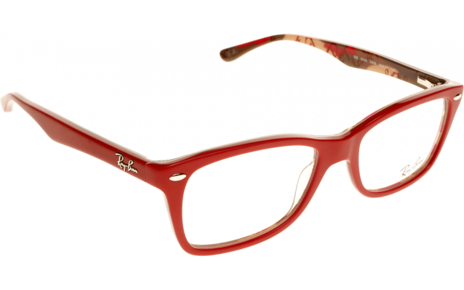 ray ban 5228 red transparent