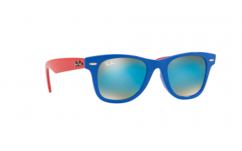 7777dc01f7e3c In Stock. Frame  Blue with red arms. Lens  Graduated blue and brown mirrored.  Sunglasses. Ray-Ban Junior Junior Wayfarer RJ9066S