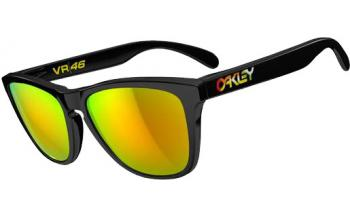 ed2febddc93 In Stock. Frame  Polished Black. Lens  Fire Iridium VR46. In Our TV Ad.  Sunglasses. Oakley Valentino Rossi Frogskins