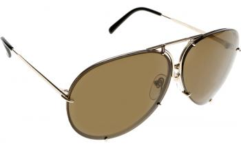 ce0f68d1353a In Stock. Frame  Gold with black earsocks. Lens  Brown with blue  replacement. Sunglasses. Porsche Design P8478-A